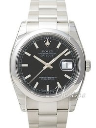 Rolex Datejust Steel Svart/Stål Ø36 mm 116200-0059