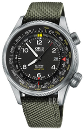 Oris Aviation Svart/Läder Ø47 mm 01 733 7705 4164-Set 5 23 14FC